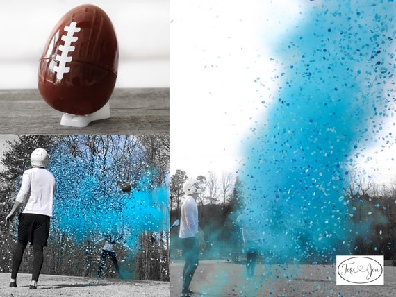 "Gender Reveal Football 10"" Powder & Confetti Gender Reveal Ball Gender Reveal Football Pink, Blue, Purple, Green, Yellow, Orange Red"