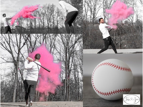Gender Reveal Baseball! Gender Reveal Baseballs in Pink or Blue  Filled w/ Powder and or Confetti Pair with Our Cannons! Handmade Baseball