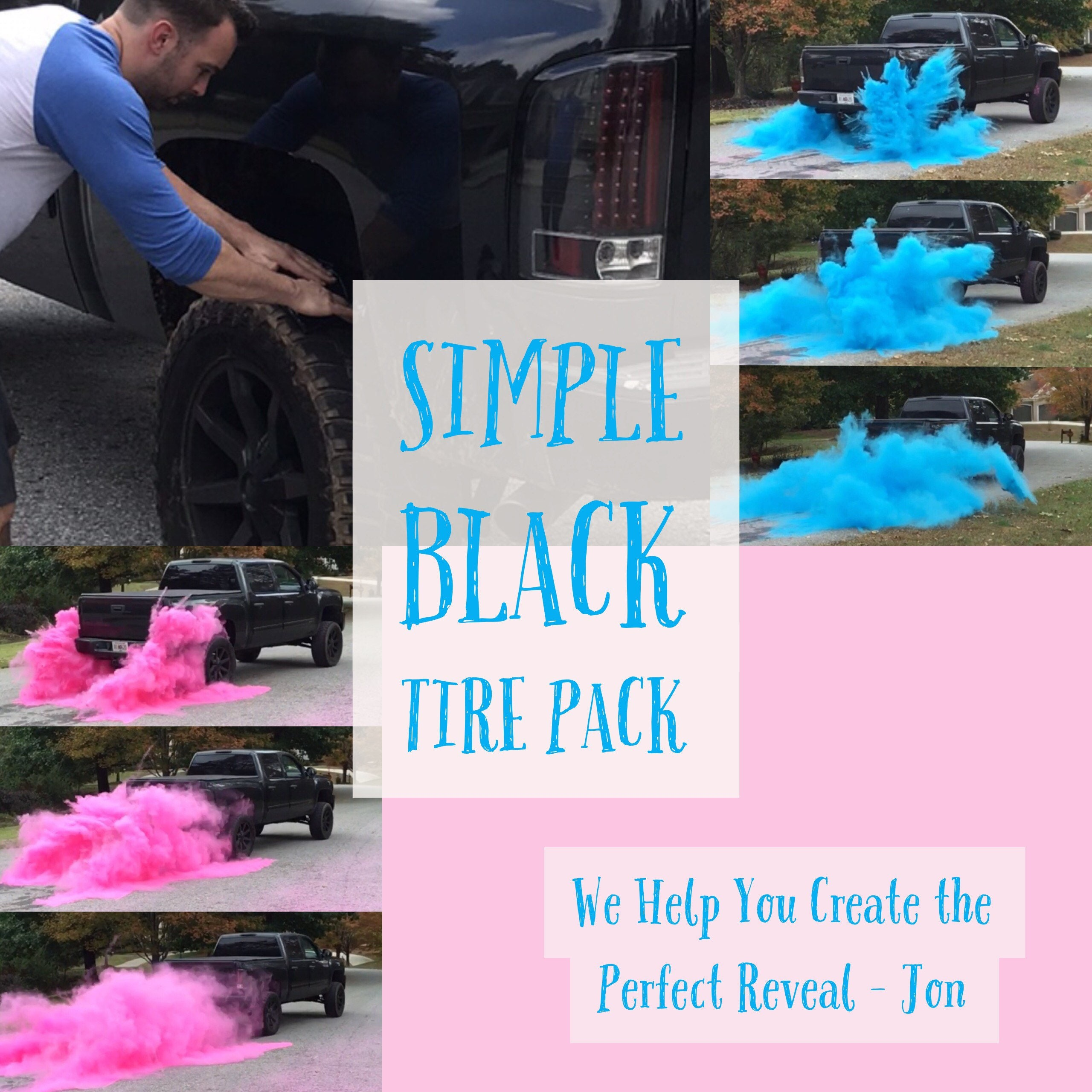 BURNOUT Gender Reveal Simple Black Tire Pack for Peel Outs Burnouts