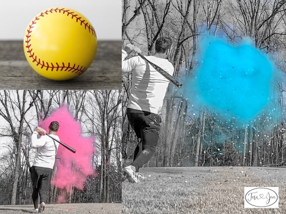 Softball Gender Reveal Softball Powder and or Confetti Softballs in Pink or Blue Pair with Powder Cannons or Confetti Cannons! Handmade!