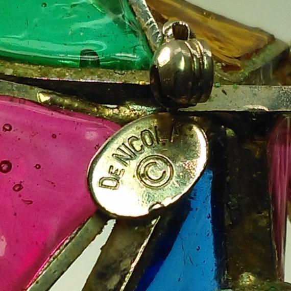 DeNicola Geometric Multicolored Gripoix Brooch