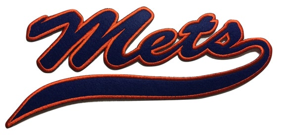 new york mets iron on script patch ny mets embroidered iron on etsy