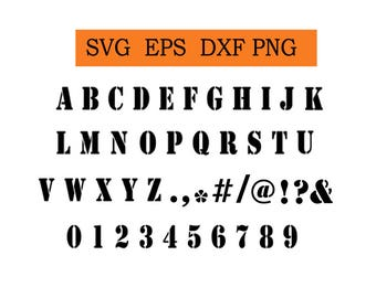 Stencil Font in SVG / Eps / Dxf / Jpg files INSTANT DOWNLOAD!