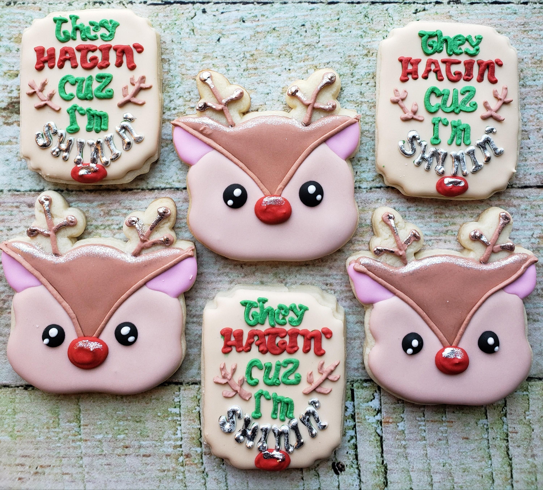 6 Shinin Reindeer Sugar Cookies