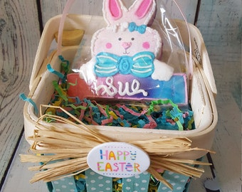 4 Personalized Easter Bunny Cookies