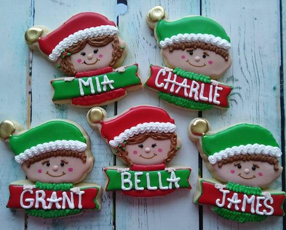 Personalized Christmas Elf Sugar Cookies