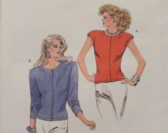 KWIK SEW PATTERN - 1602 Ladies Top, Cardigan, Button Front, Long and Cap Sleeves, Sizes Xs-S-M-L Uncut