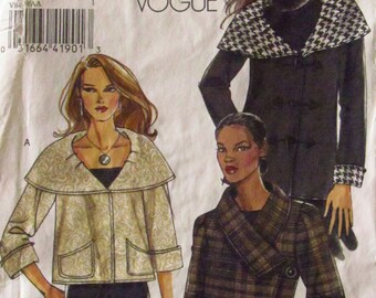 VOGUE PATTERN -  8429 Ladies Loose-Fitting Lined Jacket, Large Round Collar, Asymmetrical Front, Size (6-8-10-12), (14-16-18-20-22) Uncut