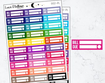 BILL DUE Planner Stickers / Budget Tracker Stickers /Payment Stickers / Bill Due Reminder / Budget Erin Condren