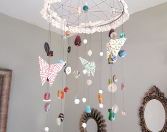 Origami Butterfly Beaded Hanging Mobile
