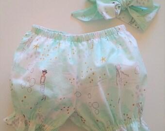 Diaper Cover-Baby Girl Bloomers-Ruffle Bum-Ruffles-Ruffle Shorts-Mermaid-Sarah Jane-Ruffle Bubble Shorts-Bloomers-Mermaid Clothes-Cake Smash