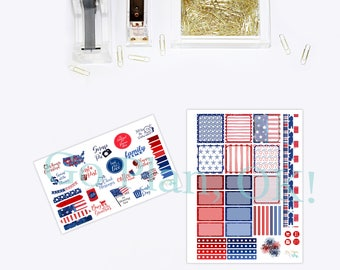 Planner Weekly Kit- Patriotic Collection- Perfect for Horizontal Planners- Erin Condren, Recollections, Happy Planner