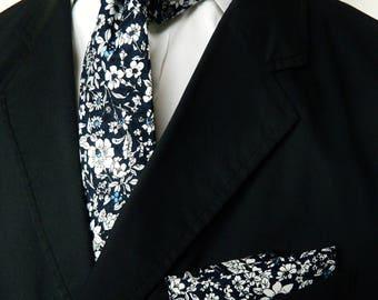 3f0bd9ea9bb0 Dark navy floral tie pocket square wedding tie gift for men skinny floral  print tie groomsmen wedding tie