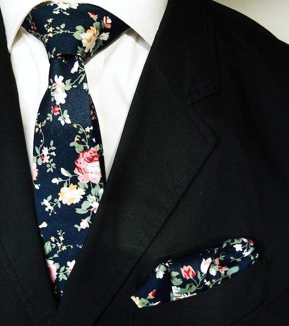 1cbf25ad86f93 Dark navy floral tie floral pocket square wedding tie gift for
