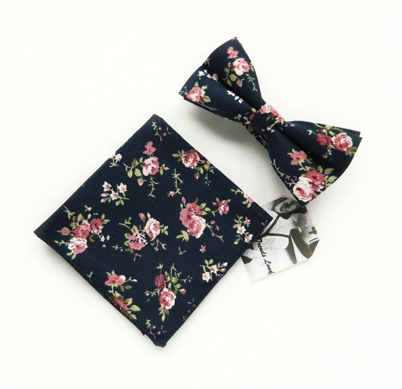 blue wedding bow tie Blue cotton bow tie UK pre-tied blue floral bow tie