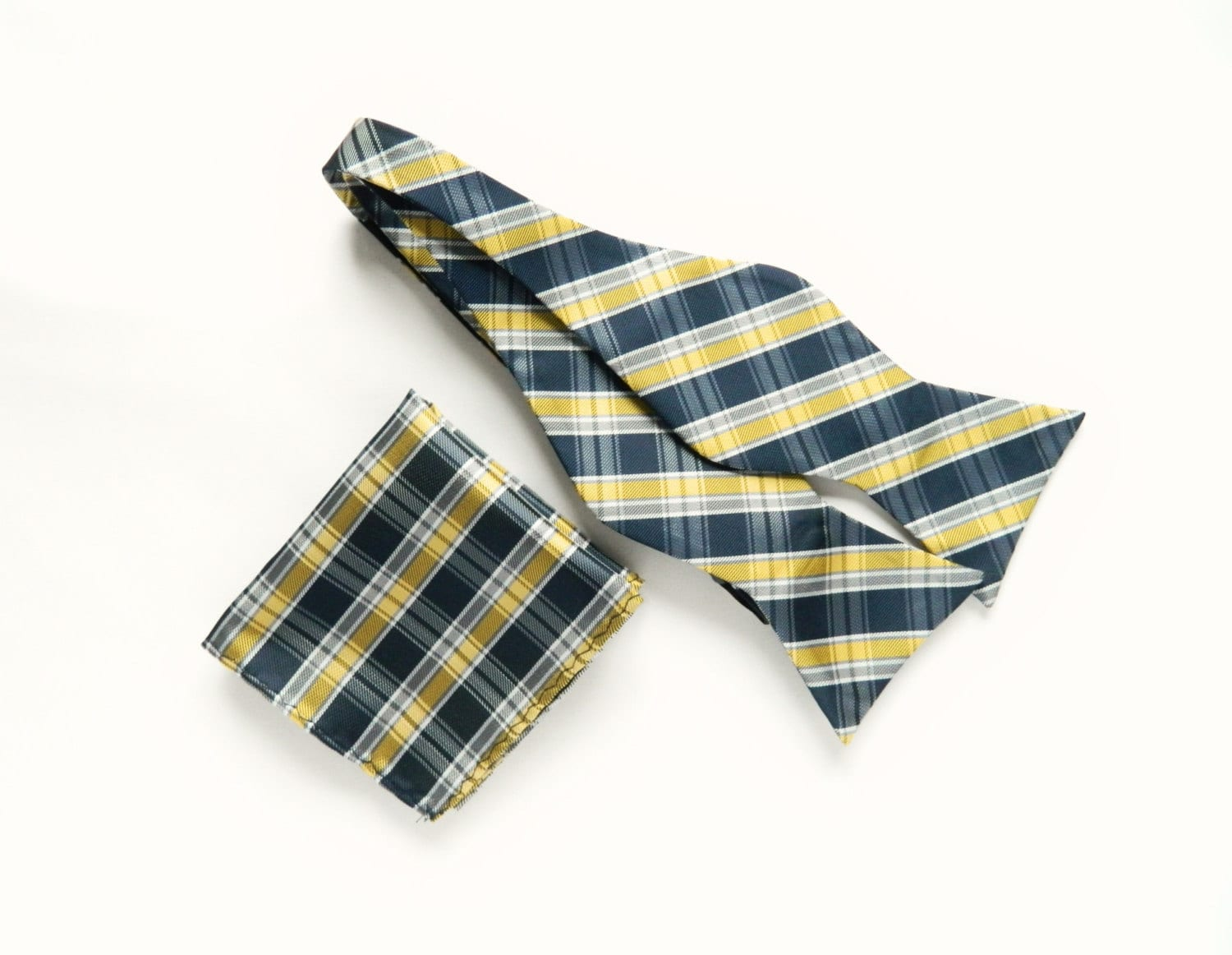 Navy Yellow Plaid Self Tie Bow Tie Plaid Pocket Square