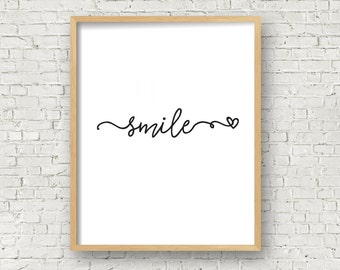 smile black and white printable wall art home decor kids room decor office decor 5x7 and 8x10 typography wall art digital quote art print