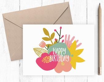 Printable Happy Birthday Card Printable Floral Birthday Card A2 instant download vintage floral design digital pink floral birthday card