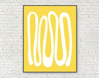 Large Yellow Abstract Mid Century Modern Art Print Wall Art Printable 11x14 and 16x20 digital art print yellow modern art instant download