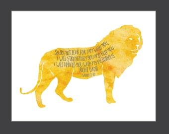 Bible Verse Lion Wall Art Printable 8x10 Digital Art Print Christian art instant download Isaiah bible verse art print kids room nursery art