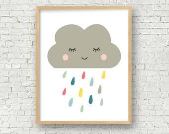 cloud with colored raindrops art print cloud wall art 8x10 and 5x7 digital art print instant download cute cloud kawaii cloud with pastel