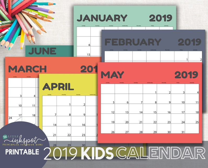 graphic relating to Printable Calendar Kids known as Little ones Calendar Printable 2019 Calendar for Kids Shiny Ground breaking immediate down load youngster wall calendar 11x17 and 8.5x11 - 2 dimensions bundled
