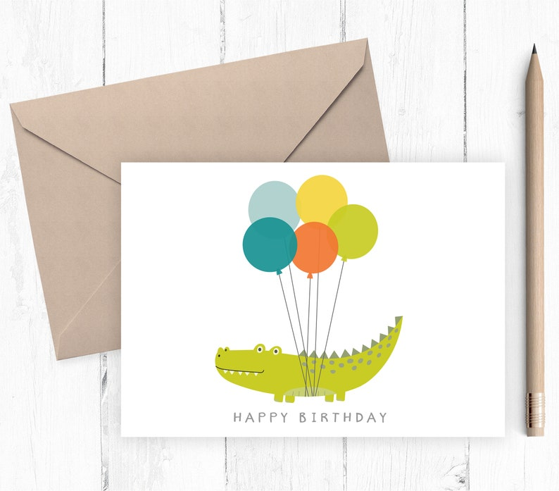 photo relating to Printable Children's Birthday Cards named Printable Boys Birthday Card Childrens birthday card printable alligator with balloons blank inside of