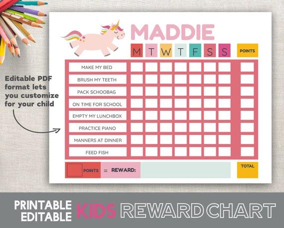 Printable Reward Chart Unicorn Fillable Editable Girl