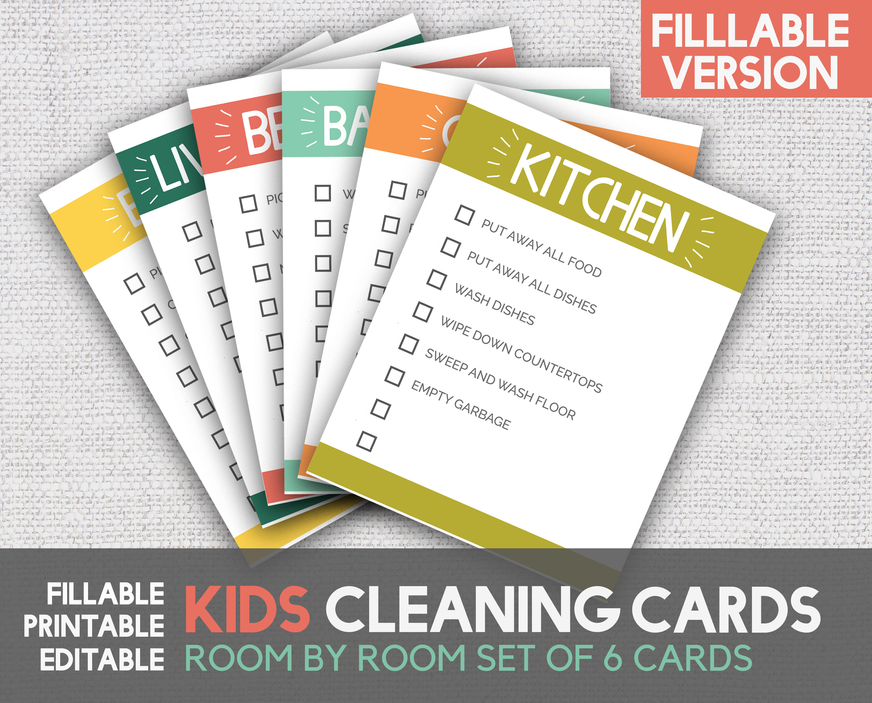 photo about Printable Chore Cards identify Cleansing Playing cards Little ones Cleansing Playing cards Printable Chore Playing cards House by way of Space Printable Children Chore Playing cards Electronic Record Fillable Editable