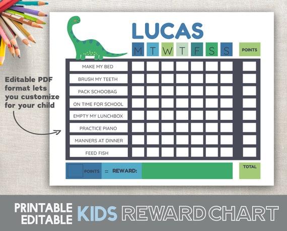 Boy Reward Chart Printable Editable Fillable Pdf 85x11 Etsy