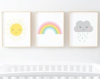 Sun Rainbow Cloud set of 3 nursery kids room prints - digital art prints - wall art printable set of 3 art prints 8x10 and 5x7 digital art