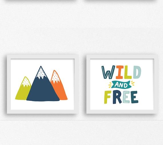wild and free printable boys room art prints set of 2 digital | etsy