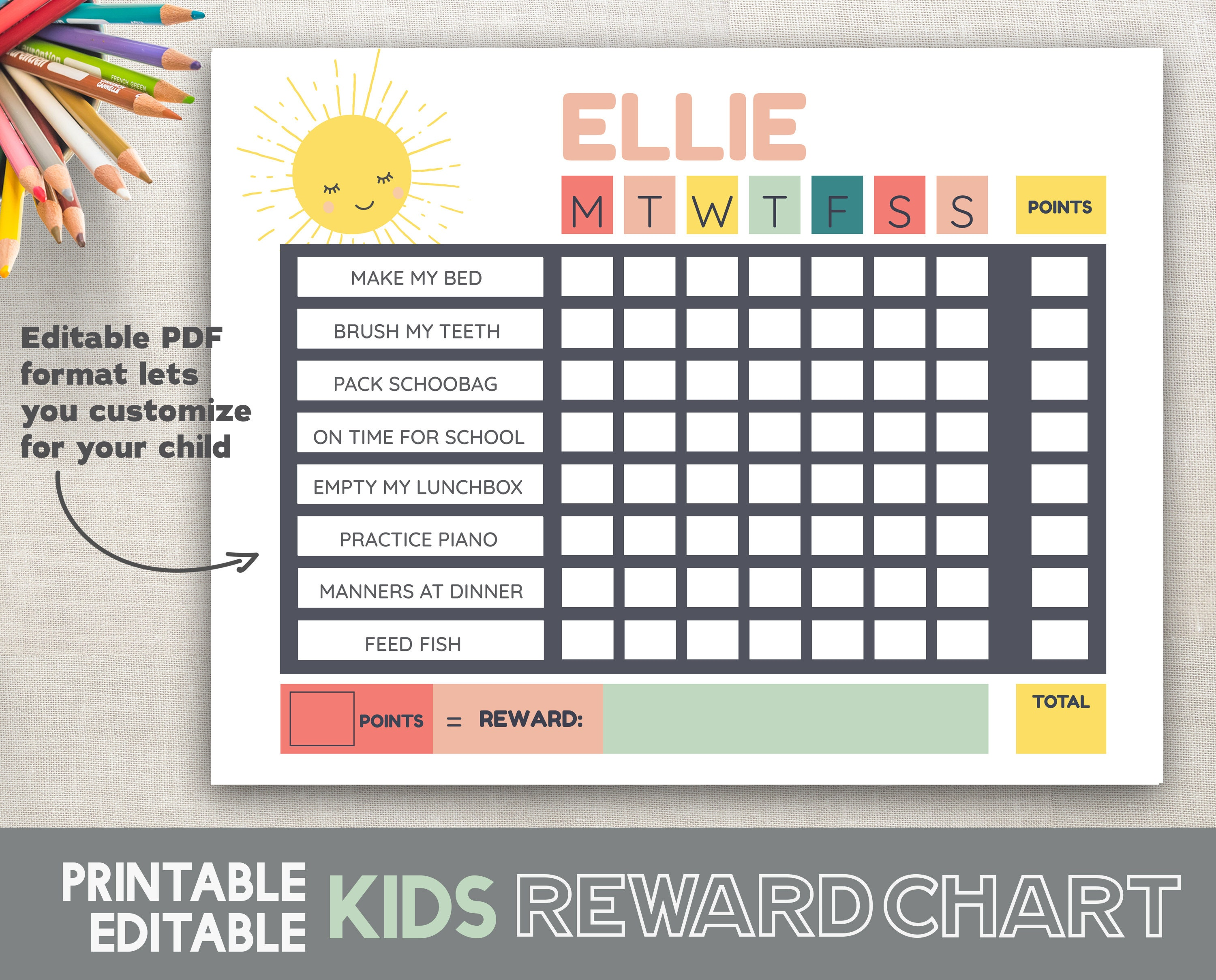 image regarding Sticker Chart Printable Pdf titled Lovable Benefit Chart Editable Printable PDF Children Solar Advantage Chart Young children Routines Program Gain Chart PDF Fillable Sunlight Chart PDF
