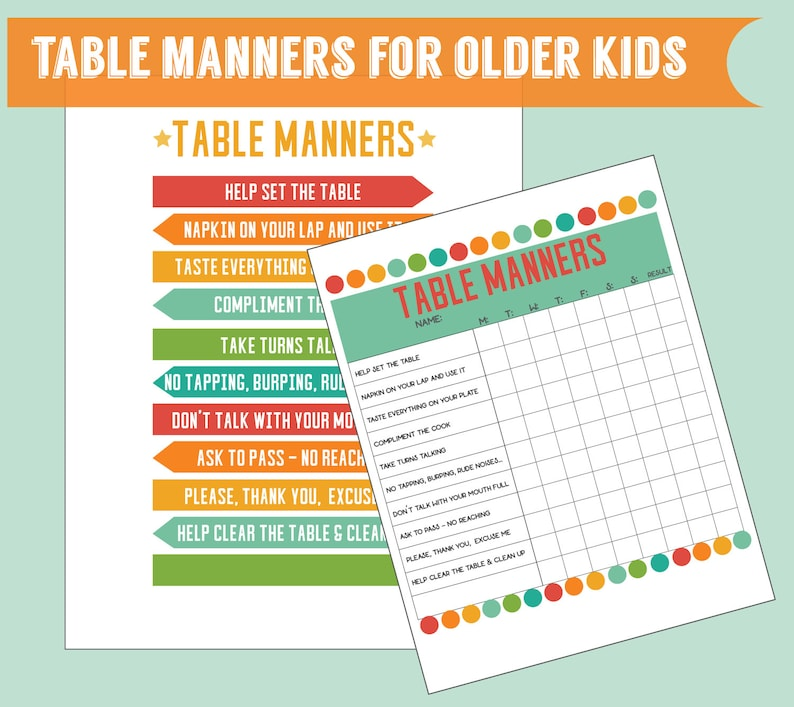 image regarding Printable Table identify Desk Manners for more mature young children mounted of 2 electronic printables small children chart printable children finding out printable poster and profit chart preset of 2
