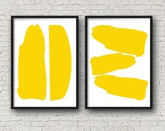 Yellow Abstract Modern Art Set of 2 16x20 Art Prints - Office Art - Living room art - Dining room art digital art prints wall art printables