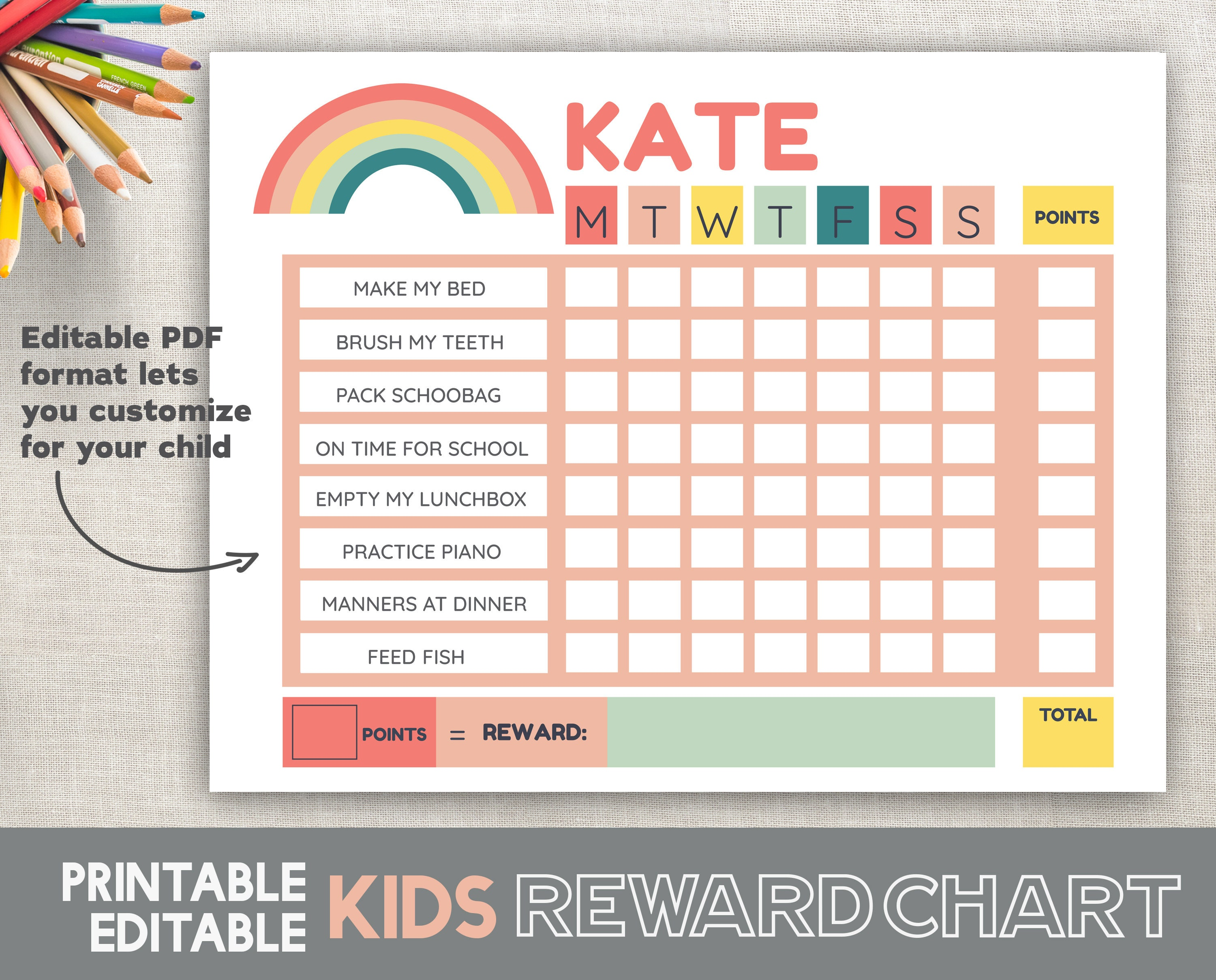 graphic about Reward Chart Printable identified as Females Gain Chart Printable Red Rainbow Chore Chart Schedule Chart Quick Obtain 8.5x11 Fillable Editable Adobe Acrobat Reader PDF