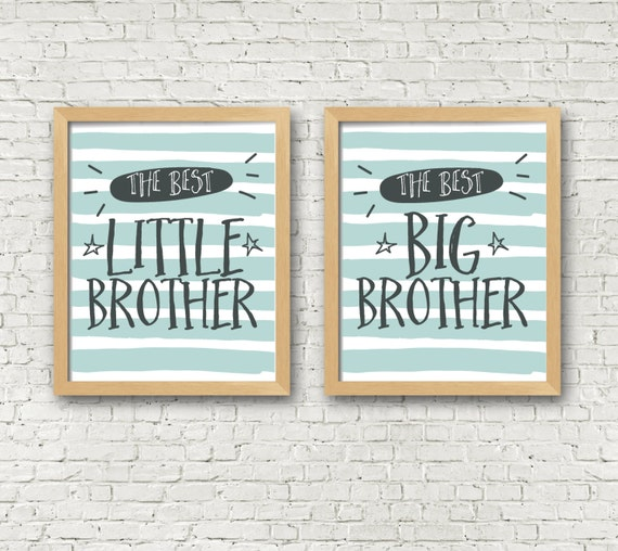 Brothers Wall Art Print Set of 2 Big brother Little brother | Etsy