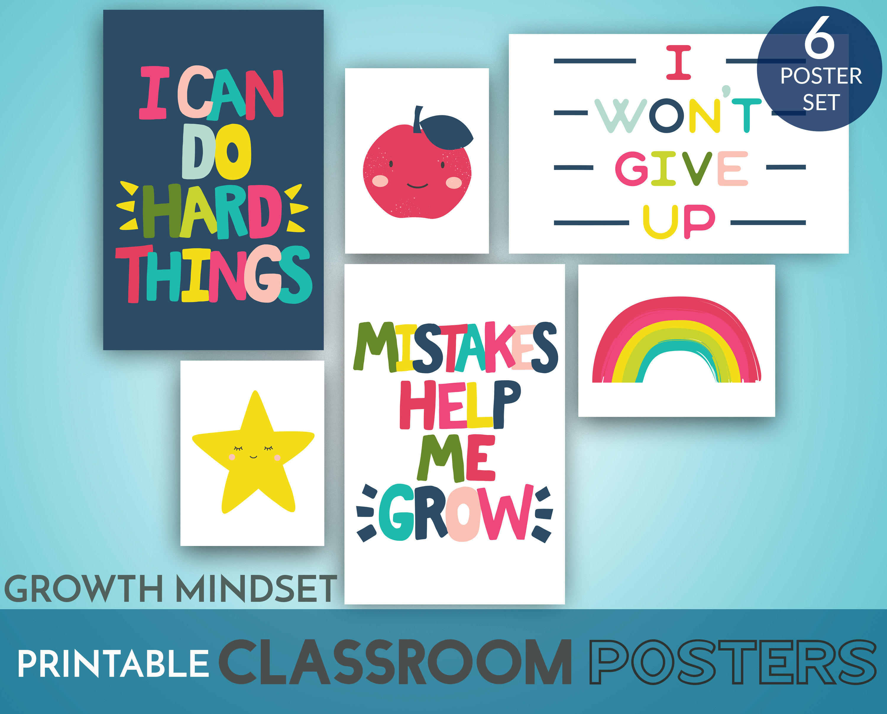Classroom Posters Printable Set of 6 Growth Mindset for Early Years -  Preschool Kindergarten First Grade Classroom Decor Instant Download