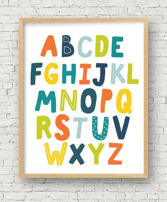 Alphabet Poster Alphabet Printable wall art kids alphabet boy room alphabet  boy nursery wall art print 8x10 11x14 16x20 digital art print