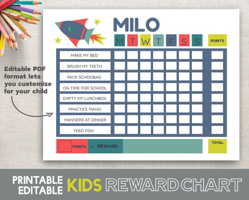 graphic relating to Printable Reward Charts for Kids identify Boy Profit Chart Rocket Send Editable PDF Printable Profit Chart Little ones Agenda Patterns Chart Schedule Chart 8.5x11 Fillable Printable PDF