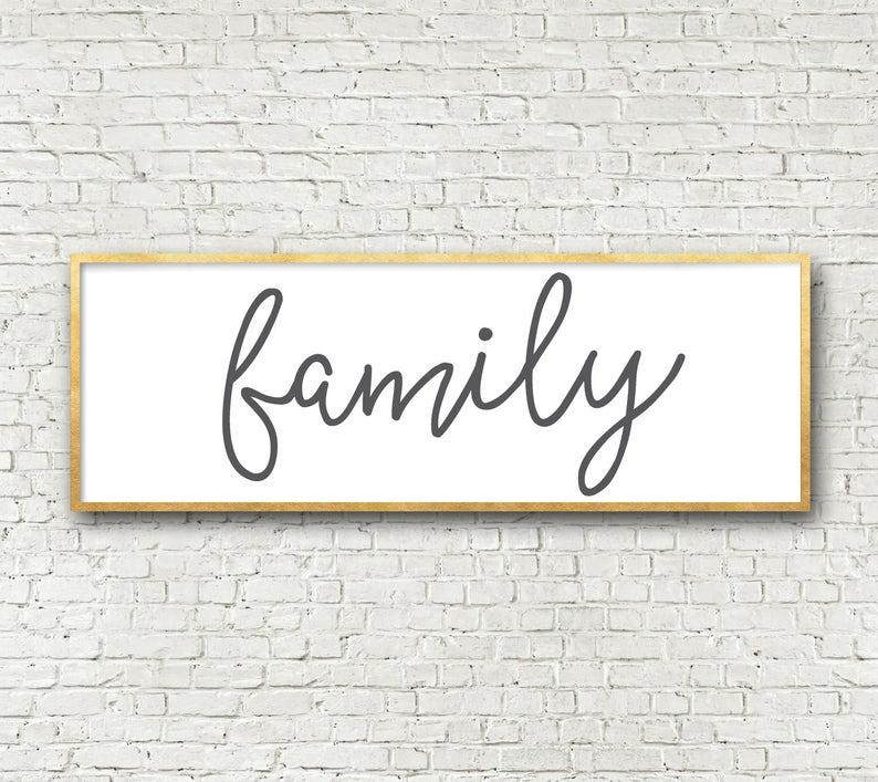 Oversize Family Sign Horizontal Long Wall Art Printable