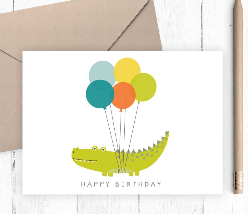 photo relating to Printable Children's Birthday Cards known as Printable Boys Birthday Card Childrens birthday card printable alligator with balloons blank in just