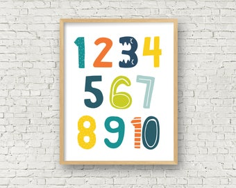 Kids Numbers Art Print Boys Room Digital art print numbers printable art comes in 3 sizes - 8x10, 11x14 and 16x20 instant download playroom