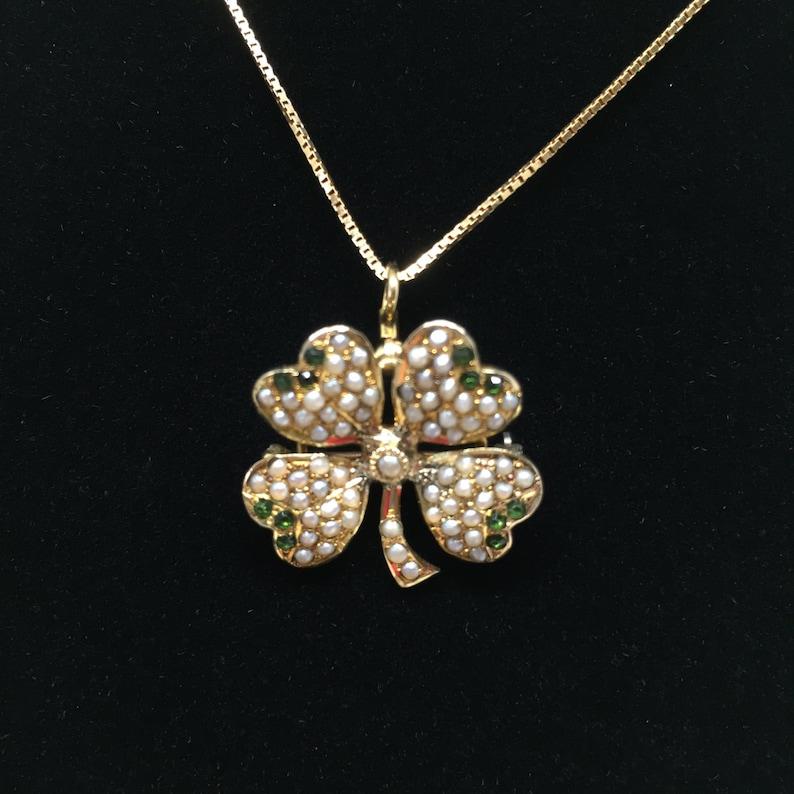 13f8601a2 Vintage Clover Necklace / Brooch / Pendant Convertible 10k | Etsy