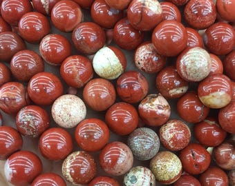 8mm Red Jasper Round Beads, Red, White and Brown Multicoloured Beads, Full Strand