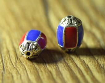 10mm x 15mm Silver Metal Barrel Spacer Bead with Red and Blue Enamel Bead
