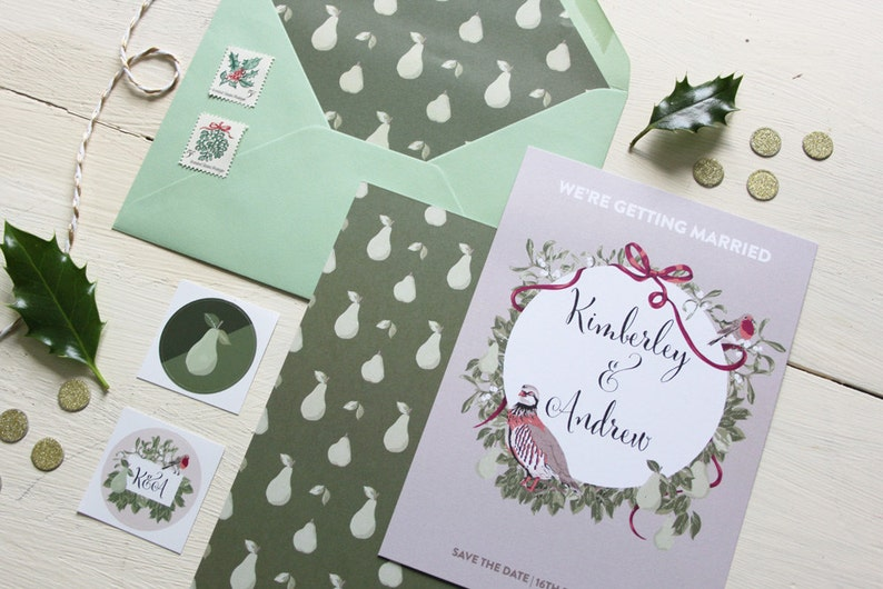 Save The Date with Envelope Christmas Wedding Save The Dates The Love Pear collection Winter Wedding Save The Date