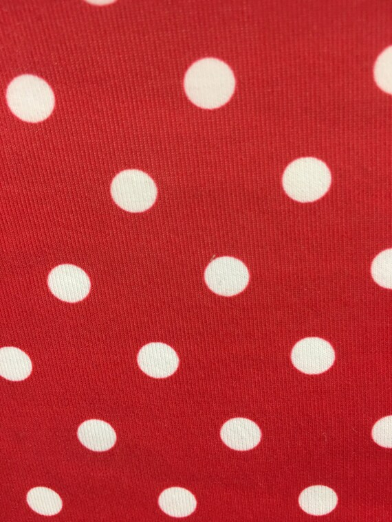 Nylon Lycra red white polka dot Print fabric four Way strech spandex by yd