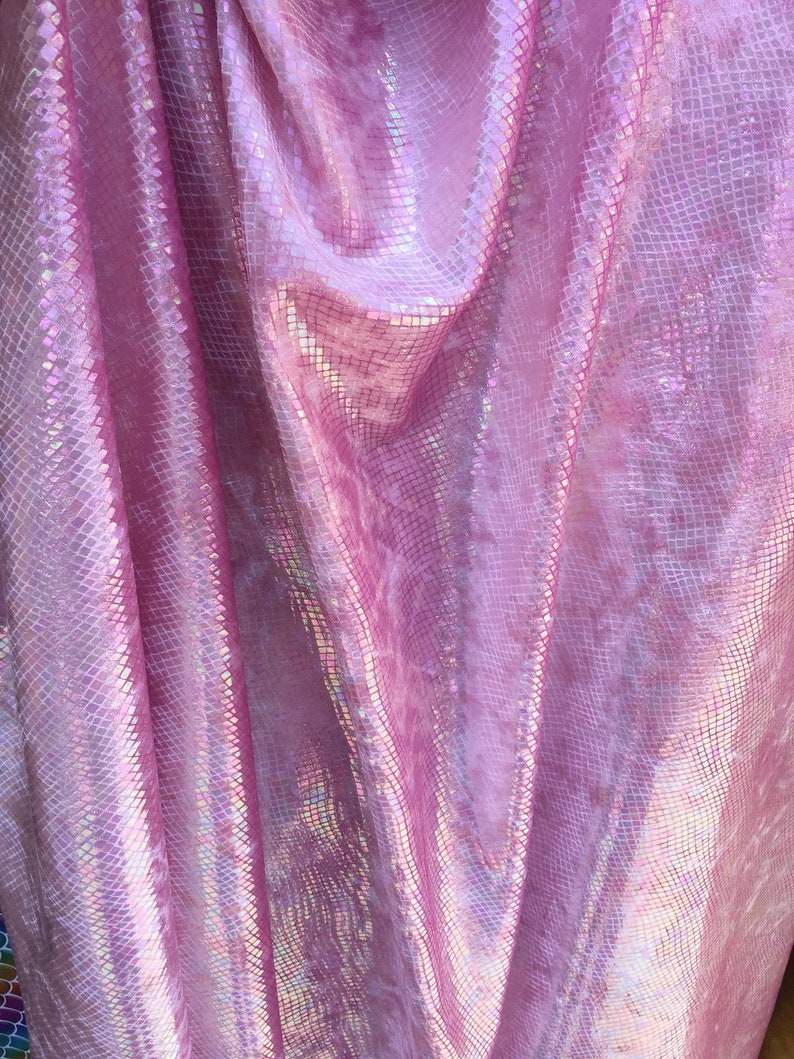 New iridescent pink 4 tone cracked ice design on poly spandex fabric 60 inch wide sold by the yard