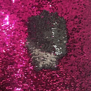 Mermaid flip up sequin shiny navy blue on one side with shiny fuchsia at the other side on stretch fabric sold by the yard